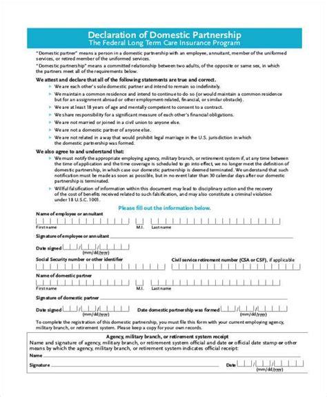 domestic partner affidavit form california domestic partnership agreement design templates