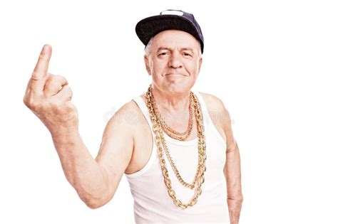 Senior Man In Hip-hop Clothes, Giving The Finger Stock