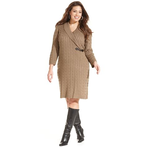 plus size sweaters lyst calvin klein plus size cable knit sweater dress in