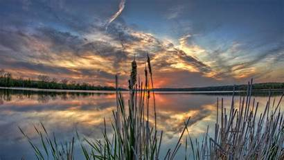 Illinois Usa Sunset Nature Reflections Landscapes Wallpapers