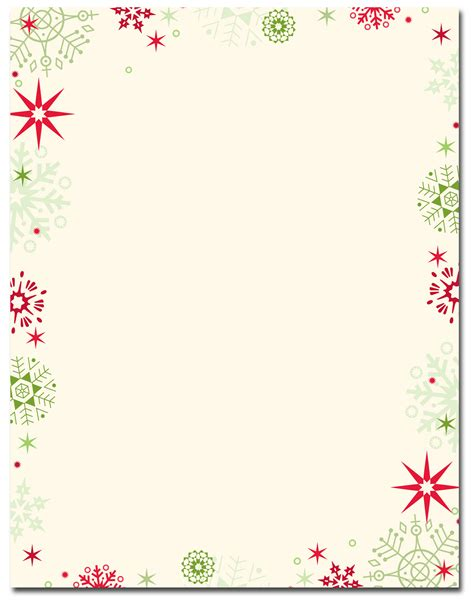 christmas stationery red green flakes letterhead