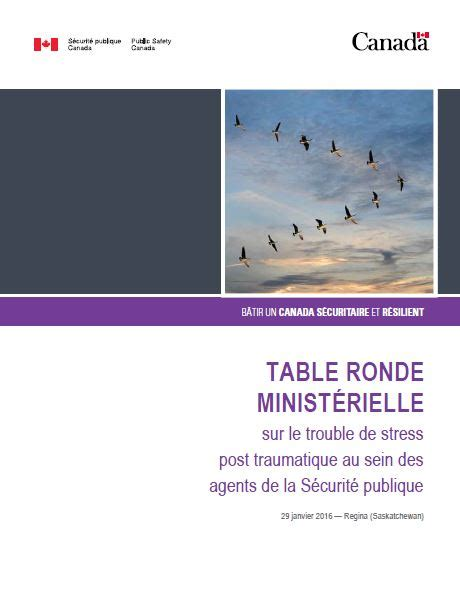 table ronde minist 233 rielle sur le trouble de stress post traumatique au sen des agents de la