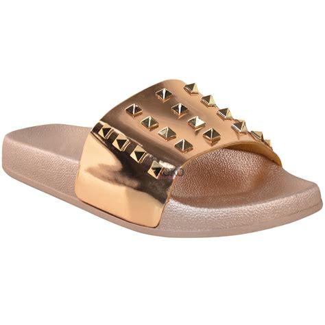 designer slide sandals womens flat slip on studded slides designer
