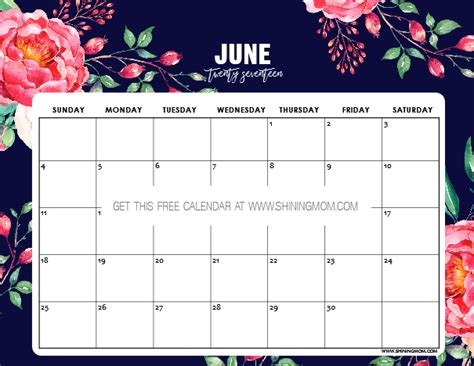 Free Printable June 2017 Calendar 12 Awesome Designs