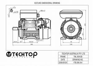 Techtop 0 75kw Motor 240v 1 Phase 2 Pole  2800 Rpm  Foot
