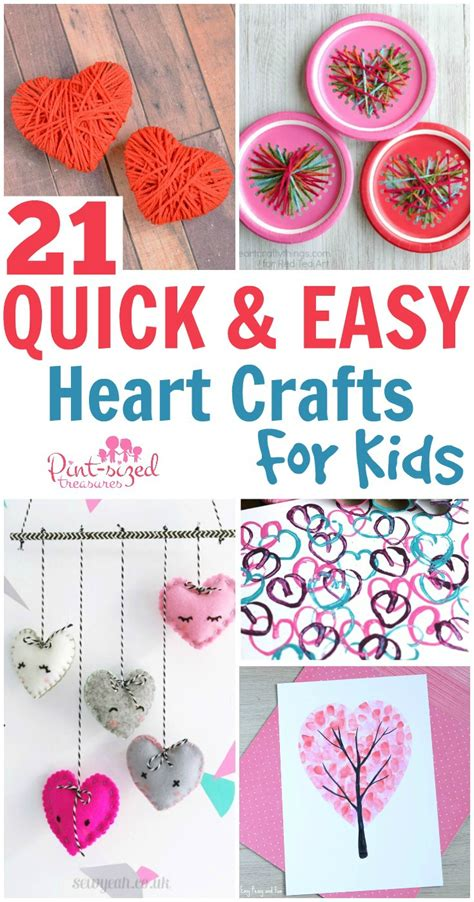 21 Quick And Easy Heart Crafts For Kids · Pintsized Treasures