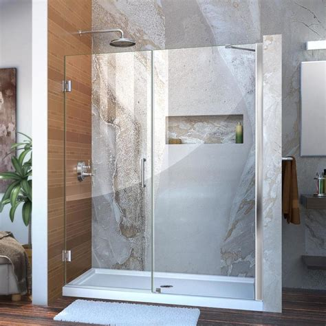 60 shower door dreamline unidoor 59 in to 60 in w frameless hinged chrome