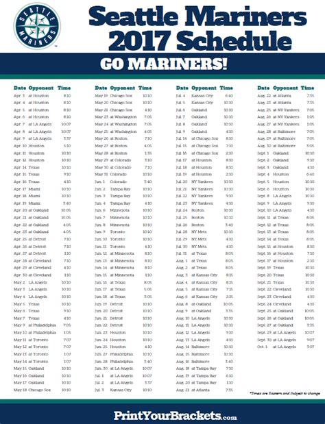 seattle mariners schedule printable mlb schedules