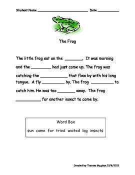 cloze passages for beginning readers learning from
