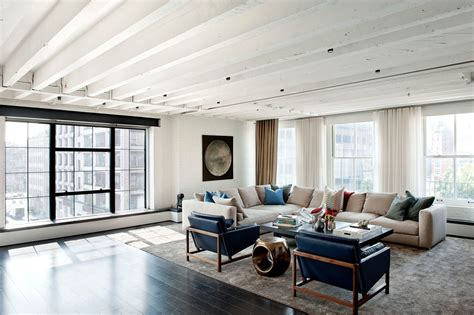 Transitional Living Room Leather Sofa by Cream Leather Sectional Living Room Industrial With Area