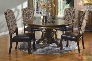 Traditional, Round, Walnut, Finish, Formal, Dining, Set, D8401