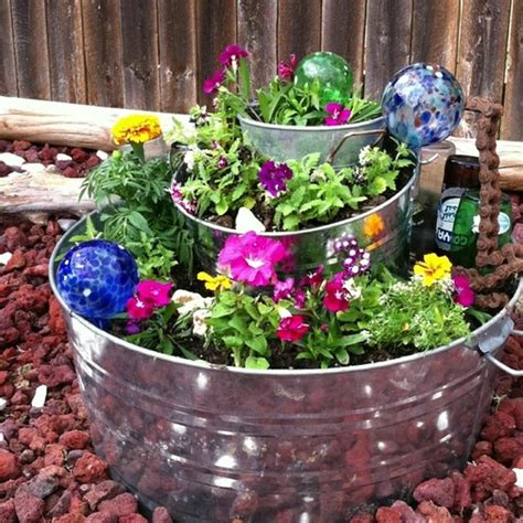 container flower garden stack metal containers with soil
