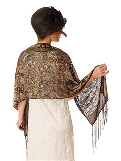 bronze gold black burnout floral fringed shawl wrap blue