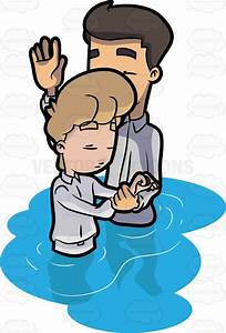 A Man Being Prayed Over Before His Baptism Cartoon Clipart ...