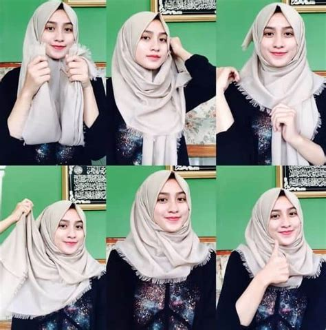 kreasi tutorial hijab simple terbaru pashmina segi