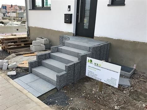 hauseingang gestalten granit mauern stufen m m gartenbau