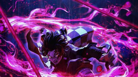 Demon Slayer Tanjiro Kamado Around Purple Lightning With