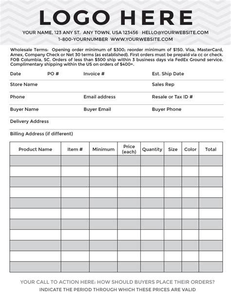 professional  sheet order form design display
