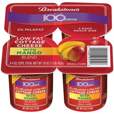 how many calories in lowfat cottage cheese breakstone s 100 calorie lowfat mango cottage cheese 4 oz