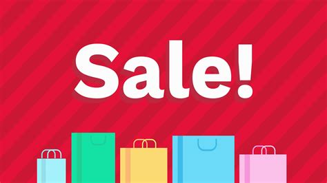 Cartoon Style Sale Sign And Shopping Bags Advertisement