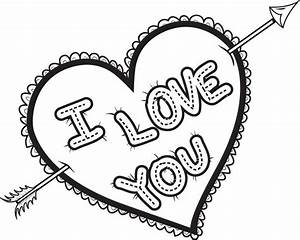 Free, Printable I Love You Heart Coloring Page for Kids
