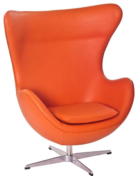 modern orange leather swivel lounge chair inspired by arne