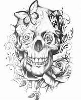 Skull Coloring Tattoo Adult Butterfly Sugar Rose Traditional Skeleton Colouring Skulls Adults Printable Roses Mandala Cartoon Coloringideas Henna Flowers Tatoo sketch template