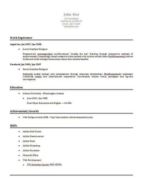 Easy Simple Resume Template by Resume Template Health Symptoms And Cure