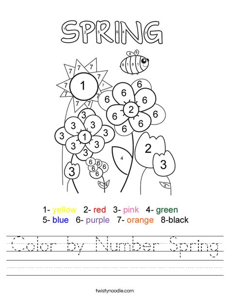 color  number spring worksheet twisty noodle