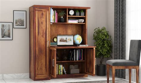 buy amstel study table cum bookshelf teak finish