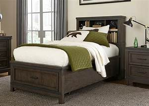Thornwood, Gray, Full, Bookcase, Bed