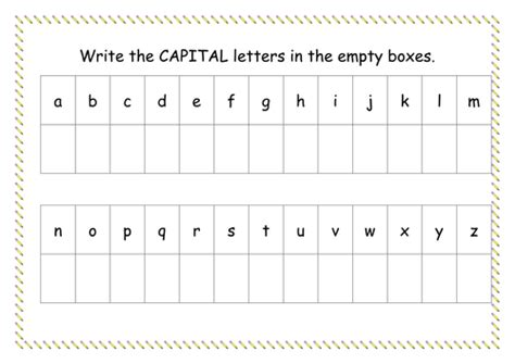 capital letter worksheet by missyrobinson teaching resources