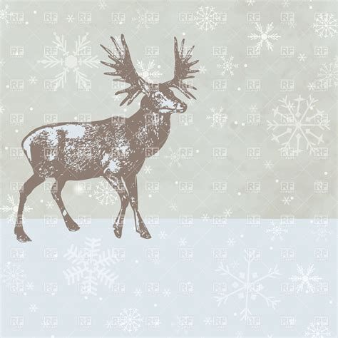 christmas deer on winter background 21961 plants and