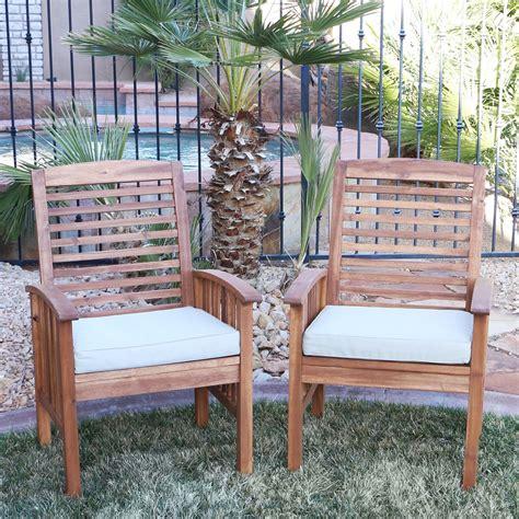 shop acacia wood patio chairs set    shipping