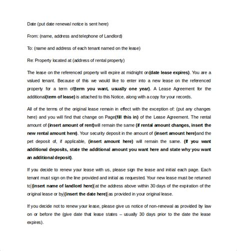 lease renewal letter 10 lease renewal letter templates pdf word sle