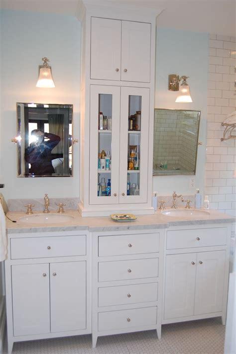 custom white bathroom vanity tower wooden hammer
