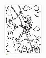 Climbing Coloring Mountain Worksheet Sheet Worksheets Pages Sheets Activities Education Rock Climber Clipart Sport Bergsteiger Mountains Climbers Sports Template Go sketch template