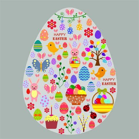 egg template illustration easter template illustration with symbols in big egg free