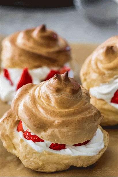 Fresh Profiteroles Cream Desserts Pastry Strawberries Dessert