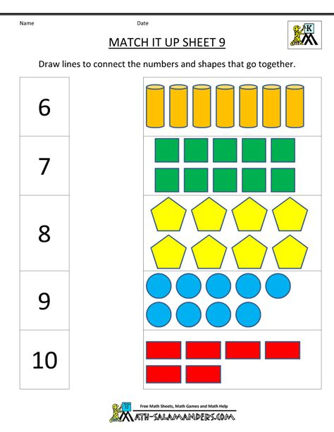 kindergarten math quotes quotesgram 364 | 1230849478 worksheets for kindergarten math match it up 9