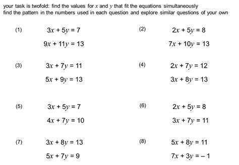 simultaneous equations worksheet with answers word