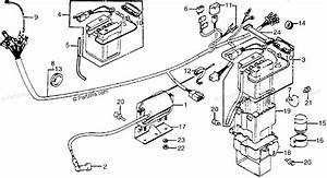Honda Motorcycle 1980 Oem Parts Diagram For Wire Harness    Ignition Coil    Battery