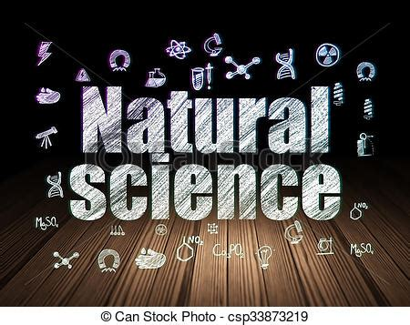 Science Concept Natural Science In Grunge Dark Room Science Concept Glowing Text Natural