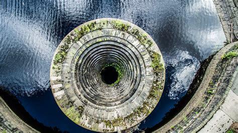 ladybower reservoir  flow plughole derbyshire dronestagram