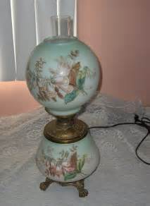 antique victorian oil l electric painted glass globes