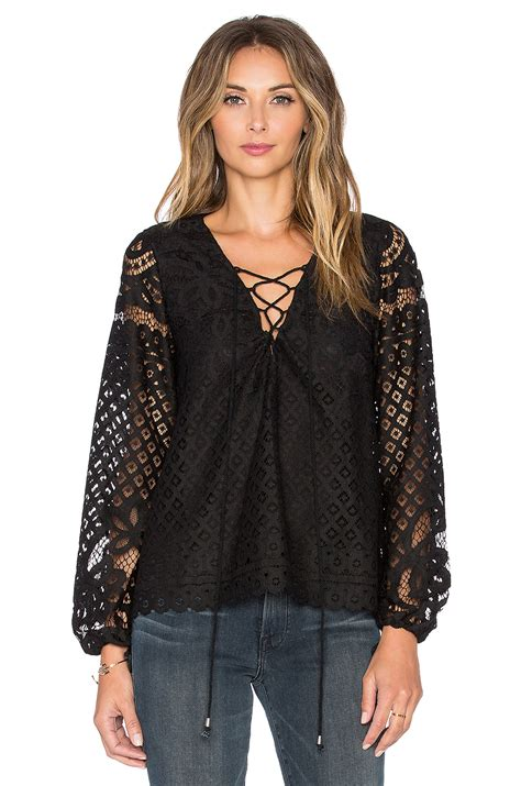 lace up blouses tularosa x revolve lace up blouse in black lyst