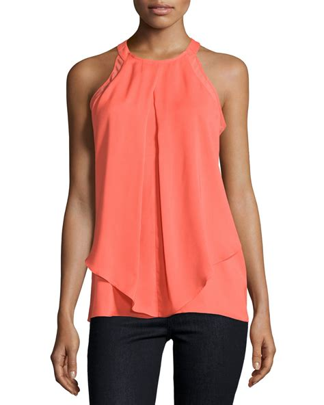 halter blouse neiman sleeveless draped halter blouse in orange lyst