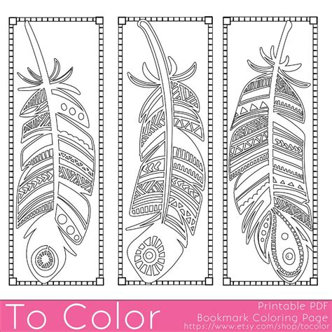 Feathers Coloring Page Bookmarks this is a printable