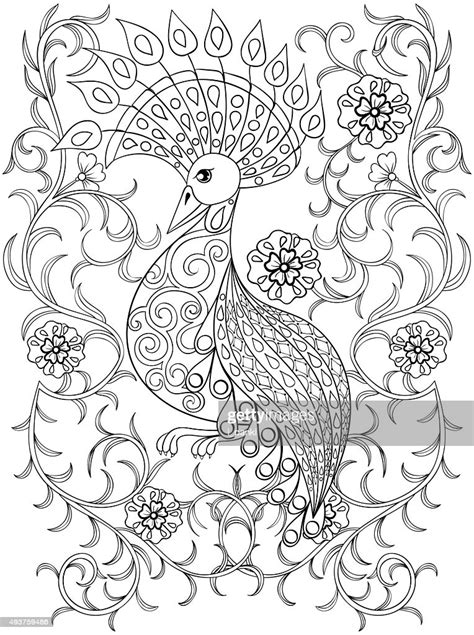 Coloring Page With Bird In Flowers High-Res Vector Graphic
