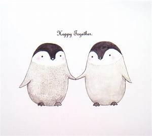 Penguin Illustration Print Unique Wedding Gift for Couple